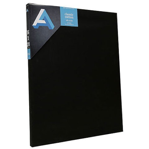 Classic Black Cotton Stretched Canvas