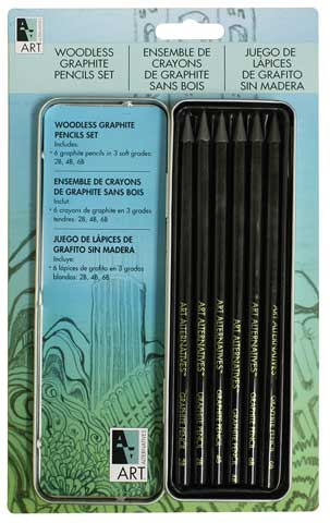 Woodless Graphite Pencil Art Tin Set