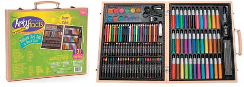 ArtyFacts 131-Piece Deluxe Art Set in Wood Case