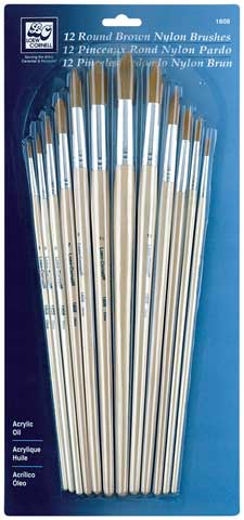 Round Brown Nylon Brush Set