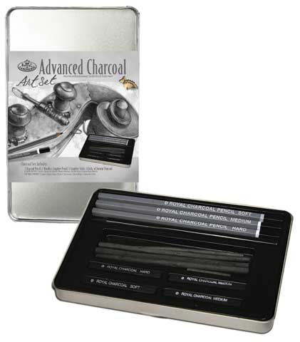 Charcoal Drawing Small Tin Art Set