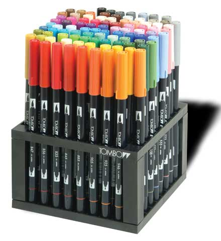 Dual Brush Pen 96-Color Set with Stand
