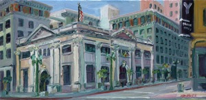 "John Kilduff, ""Farmer & Merchants Bank"", Oil on Canvas, 10"" x 20"""